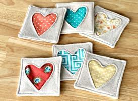 Beginner Sewing: Fabric Heart Coasters