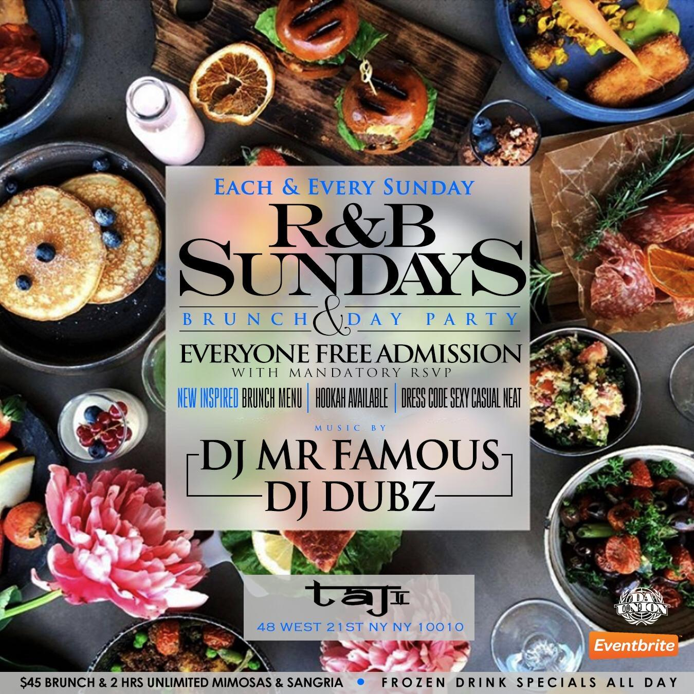 Sun. 09/20: #1 R&B Sundays Bottomless Brunch Party at TaJ NYC. RSVP NOW