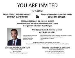 Midland & Ector County Bush Day Dinner