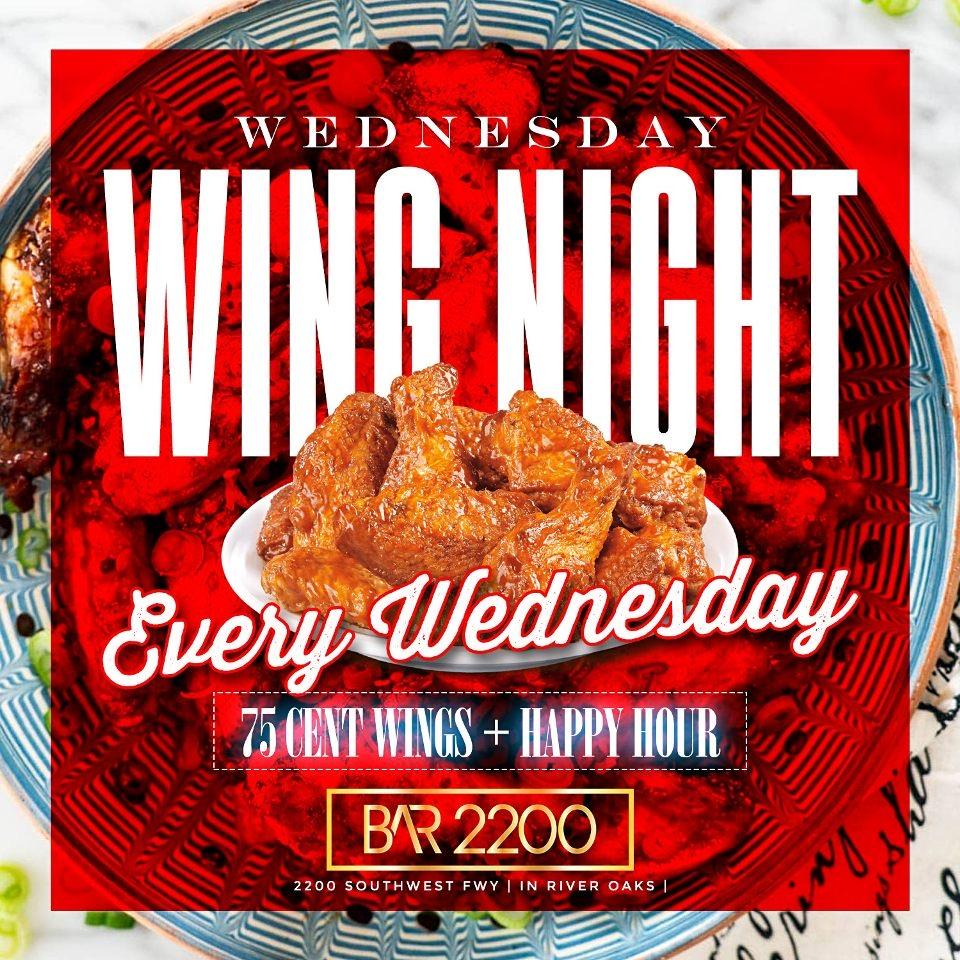 Wednesday Wing Night @ Bar 2200| 75 Cent Wings | Happy Hour | $20 Hookah|