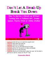 Don't Let A Break-Up Break You Down: A Teleseminar for...