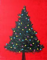 Christmas Tree on Red - Color Me Mine 12-21-12