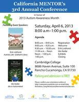 CA MENTOR's 3rd Annual Conference in honor of   Autism...
