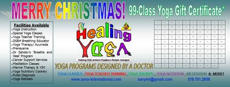 Christmas Gift Certificate - 99 Yoga Classes for $99