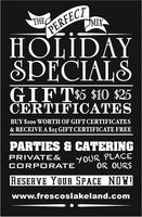 Fresco's Holiday Gift Certificate Spectacular