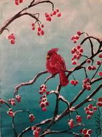 Cardinal on the Holly Bush Painting Class