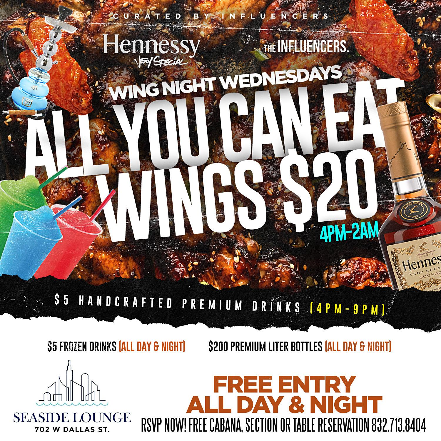 SEASIDE WING NIGHT WEDNESDAYS - RSVP NOW! FREE ENTRY, FREE SECTIONS & MORE
