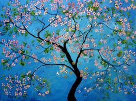 Two-Hour Painting Class + Wine (Cherry Blossom Blues!)