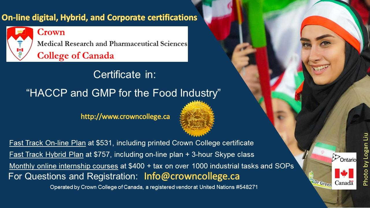 Online Certificate in HACCP and GMP for the Food Industry