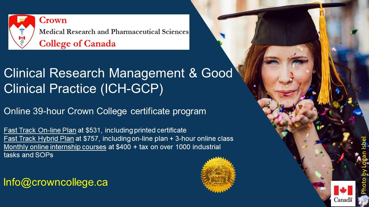 Online Certification in Clinical Research Management and ICH-GCP
