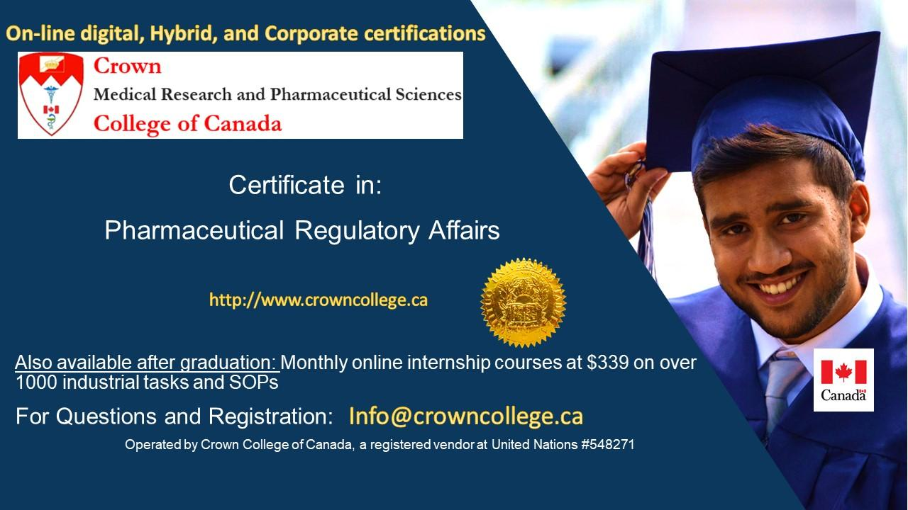 Pharmaceutical Regulatory Affairs Online Certification