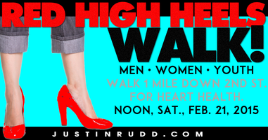 Red High Heels Walk on 2nd St. for Heart Health Month