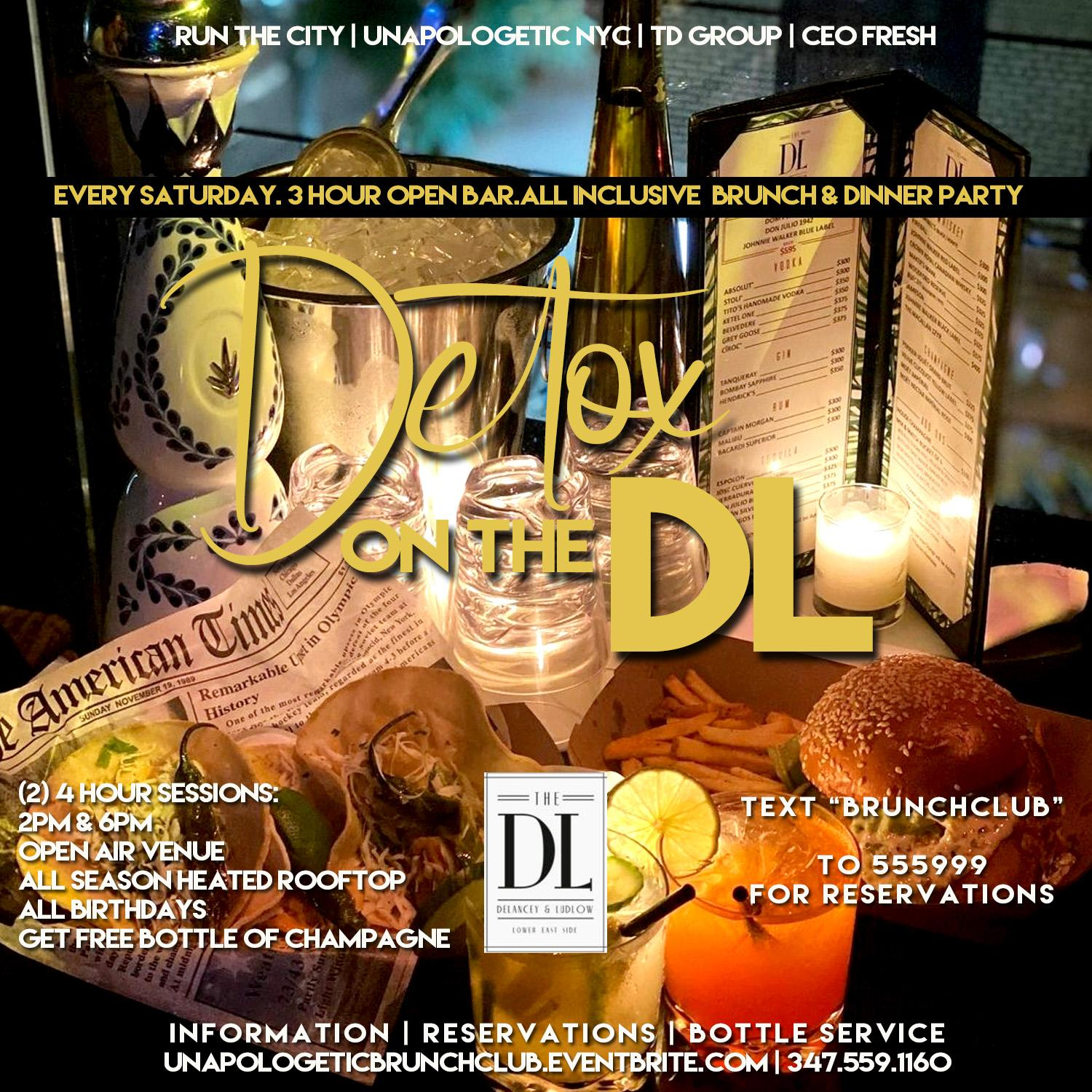 1/16 DETOX SATURDAY ROOFTOP BRUNCH & DINNER PARTY @ THE DL