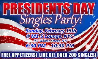 Presidents' Day Singles Party! (Live DJ, Appetizers,...