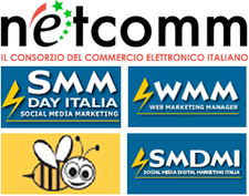 NetComm Consorzio e-commerce + #SMMdayIT + Social Media Digital Marketing Italia + Social Media Marketing Italiano + WMM logo