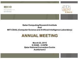 QCRI - MIT Annual Meeting 2015
