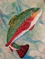 Painting Party-Cutthroat Trout at Slate Creek Brewery...