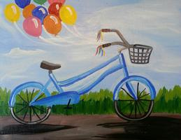 Tipsy Muse painting class-Bicycle at Twigs Spokane...