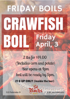 Friday Crawfish Boils at St Roch's Bar