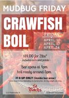Friday Crawfish Boils at St Roch's Bar-April 10
