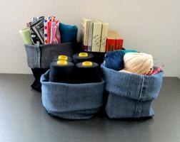 Upcycled è Riutilizzato -  Cestino portatutto - Jeans...