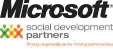 Microsoft New Zealand in association with Social Development Partners logo