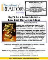 Don't Be a Secret Agent.... Low Cost Marketing Ideas WCR...