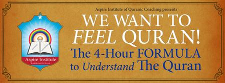 """Seminar:""""WE WANT TO FEEL QURAN!"""" The 4-Hour FORMULA to..."""