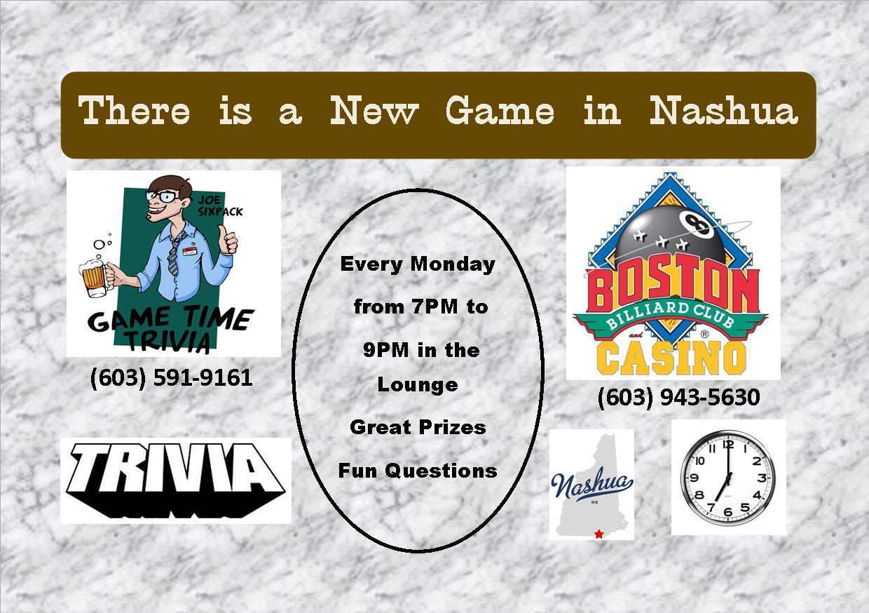 Game Time Trivia Mondays at Boston Billiard Club & Casino in Nashua