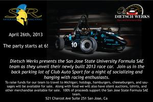 San Jose State Formula SAE Unveiling Party