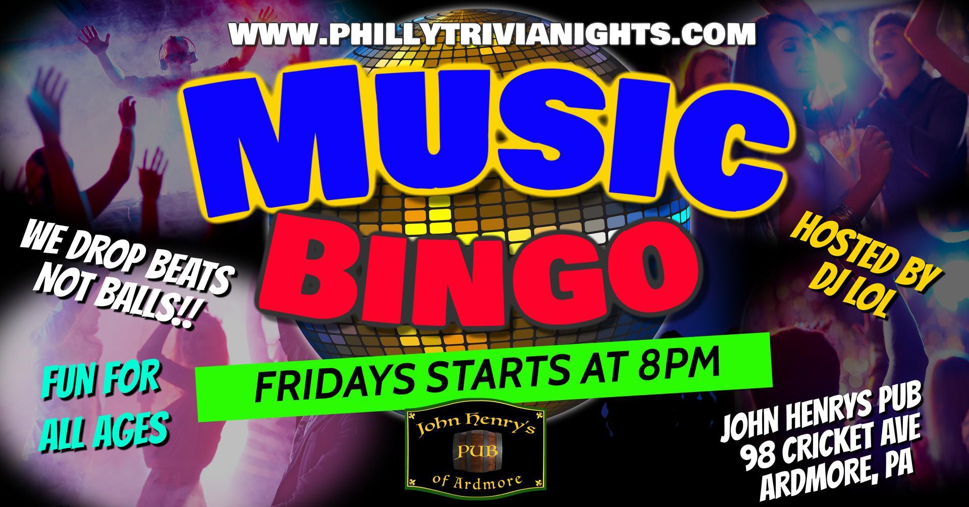 Friday Music Bingo at John Henrys Pub in Ardmore, PA