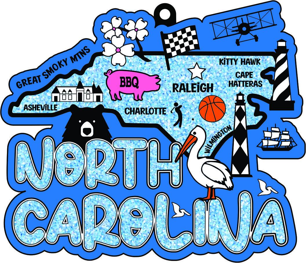 2021 Race Thru North Carolina 5K 10K 13.1 26.2-Participate from Home Save$5