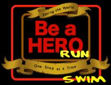 """""""Be a Hero"""" Run & Swim logo"""
