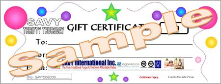 THRIFTY THURSDAY HALF PRICE GIFT CERTIFICATES