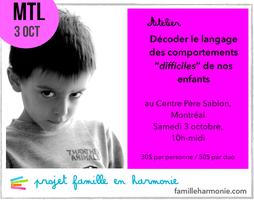 Atelier Montréal: Décoder le langage des comportements...