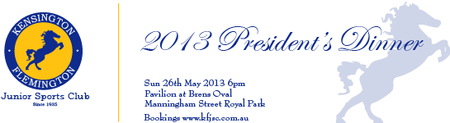 Kensington-Flemington Junior Sports Club Annual President's...