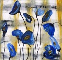 Sip N' Paint Blue Poppies: Wednesday July 10th, 6pm