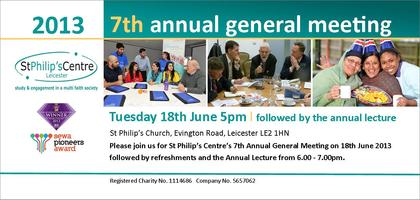 St Philip's Centre 7th AGM and Annual Lecture