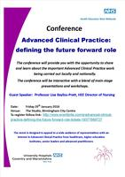 Advanced Clinical Practice: defining the future...