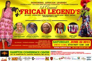 FIRST ANNUAL AFRICAN LEGEND'S NITE - HONORING AFRICAN LEGENDS...