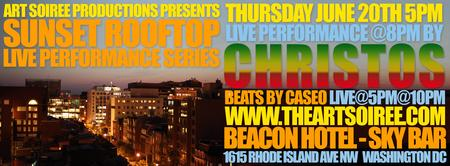 CHRISTOS @ Art Soiree Sunset Rooftop Performance - Reggae Night
