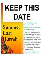 GIRLS NIGHT OUT SUMMER LAST HURRAH-EARLY REGISTRATION