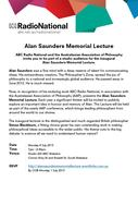 ABC Radio National Alan Saunders Memorial Lecture