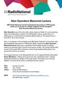ABC Radio National Alan Saunders Memorial Lecture