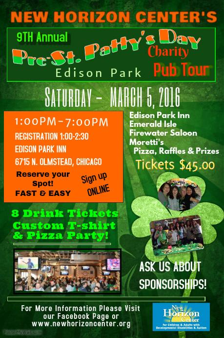 9th annual pre st patty 39 s day pub tour benefiting new horizon center tickets sat mar 5 2016. Black Bedroom Furniture Sets. Home Design Ideas