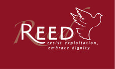 REED (Resist Exploitation, Embrace Dignity) logo