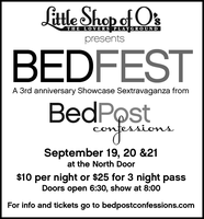Little Shop Of O's Presents BEDFEST - A 3rd...