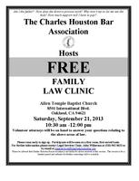 Charles Houston Bar Association Free Family Law Clinic