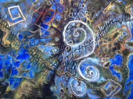 """Exhibit: """"Entre Añiles y Escarlatas."""" Abstract works..."""