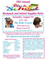 """2013 Annual """"Back to School"""" Backpack and School..."""